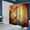 Maple Leaf Forest Pattern Print Shower Curtain - CAMEL BROWN
