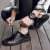 Large Size Men Autumn Hand Stitching Casual Shoes - BLACK