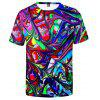 Men's Creative 3D Spray Paint Short Sleeve T-shirt - MULTI-C