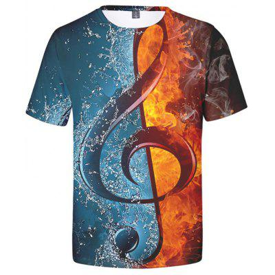 Men's Creative 3D Note Print Short-sleeved T-shirt