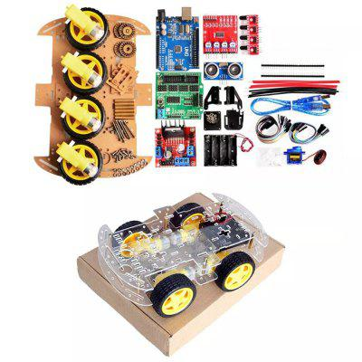 LEBANGSHOU 4WD DIY Smart Chassis Car Kit for Arduino With UNO R3 + Ultrasonic Module + Motor Drive Board /3 - 6V TT Motor