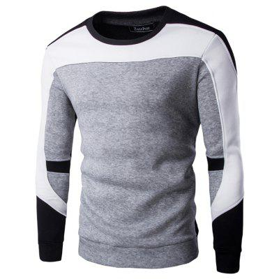 Men's Casual Long Sleeve Round Neck Stitching T-shirt