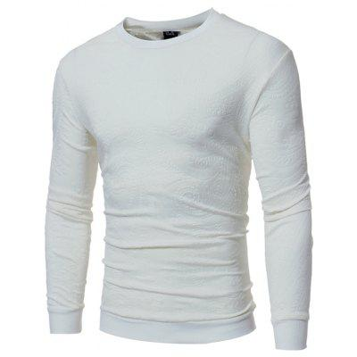 Individual Embossed Design Men's Casual Minimalist Long-sleeved T-shirt
