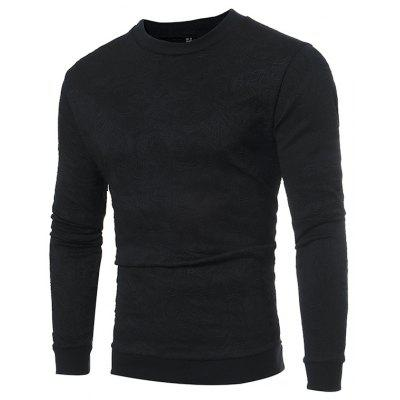 Fashion Popular Solid Color Round Neck Long-sleeved Men's T-shirt