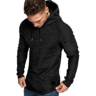 Men's Casual Long Sleeve Hooded Arm Pleated Striped Decorative Hoodie