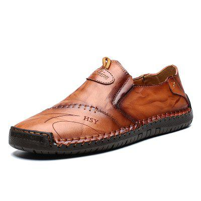 Two-layer Cowhide Men Leather Hand Stitching Shoes