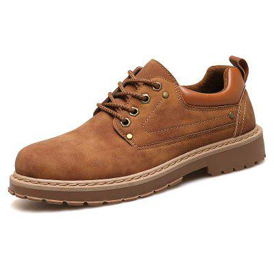 Men's British Style Comfortable Casual Shoes Solid Color Lace-up Footwear