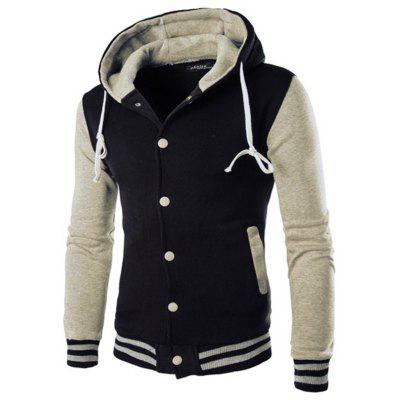 Hooded Baseball Shirt Men's Jacket Slim Cardigan Short Brushed Hoodie
