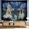 Snowy Night Colored Christmas Tree Digital Printed Tapestry - MULTI-A