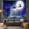 Moonlight Sledding Santa Claus Pattern Digital Print Tapestry - MULTI-A