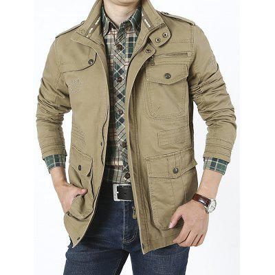 Men's Multi-bag Large Size Jacket Cotton Casual Stand Collar Jacket