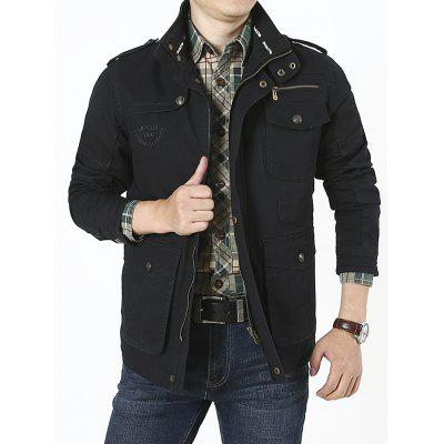 Multi-bag Large Size Men's Cotton Casual Stand Collar Jacket