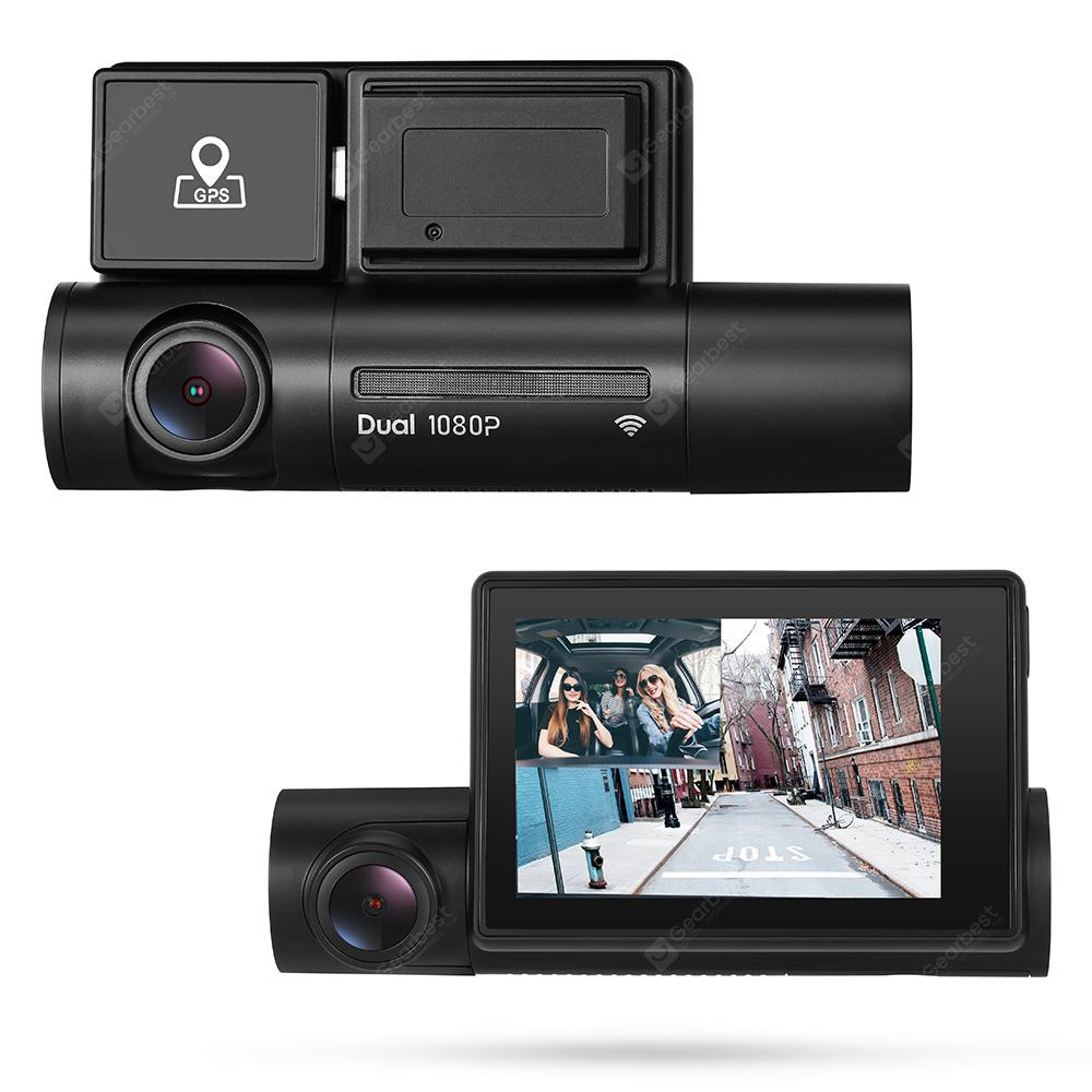 Alfawise LS02 1080P HD Dual Camera Car DVR WiFi Dash Cam with GPS Super Capacitor - Black