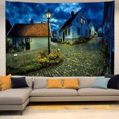 Tranquil Town Under The Night Sky Pattern Wall Digital Printing Tapestry