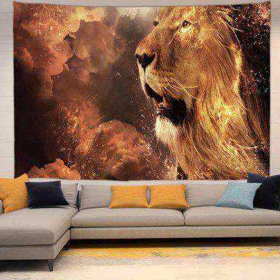 Flame Lion Digital Print Tapestry