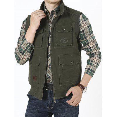 Men's Loose Large Size Vest Cotton Multi-pocket