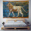 Lion Doodle Pattern Background Wall Digital Print Tapestry - MULTI-A