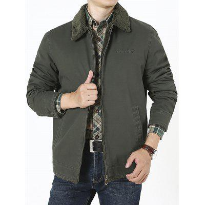 Men's Middle-aged Winter Warm Short Large Size Velvet Turn-down Collar Jacket