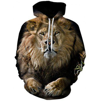 Men's Animal Lion Wolf Print Hoodie