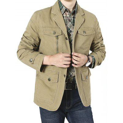 Men Tailored Collar Long Sleeve Jacket