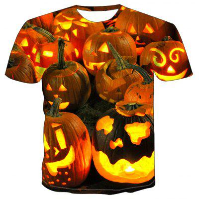 Men Halloween Pumpkin Print 3D Short Sleeve T-shirt