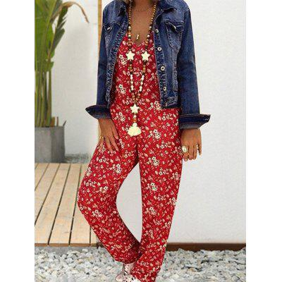 Women's V-neck Sleeveless Halter Print Jumpsuit