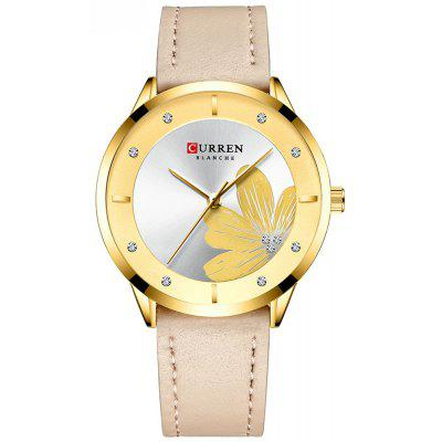 CURREN / Karen 9048 Ladies Waterproof Round Watch Simple Flowers Foreign Trade Explosion Watch Belt Watch