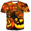 Men Halloween Pumpkin Print 3D Short Sleeve T-shirt - MULTI-D