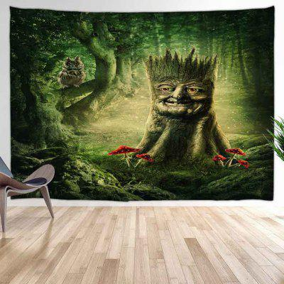 Cartoon Stump + Owl Digital Print Tapestry