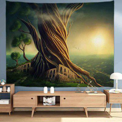 Big Tree On Mountain Digital Print Tapestry