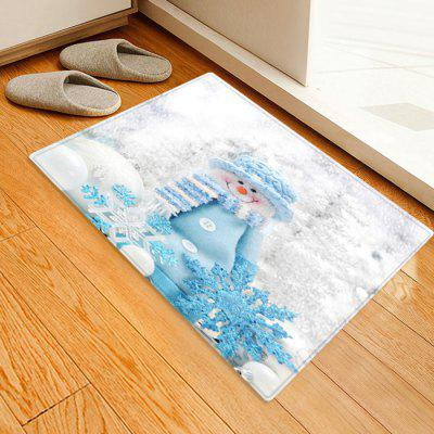Cute Snowman with Scarf + Hat Pattern Printed Carpet Mat