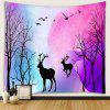 Hand-painted Style Dreamy Forest Deer Pattern Print Tapestry - MEDIUM ORCHID