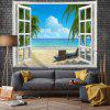 Outside Window Beach Landscape Digital Printed Tapestry - MULTI-A