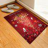 Abstract Style Reindeer Christmas Tree Pattern Print Carpet Mat - RED WINE