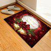 Christmas Series Bell + Letter Pattern Printed Carpet Mat - RED