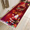 Classic Santa + Christmas Tree Pattern Printed Carpet Decorative Mat - RED WINE