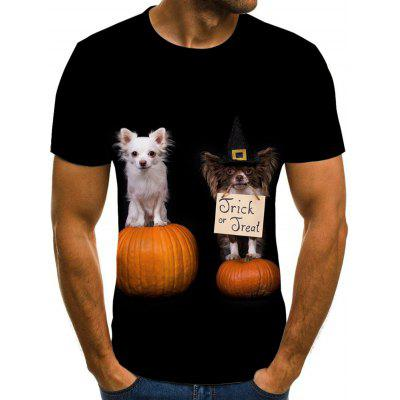 Men's Halloween Pet Pumpkin Print 3D T-shirt Short Sleeve
