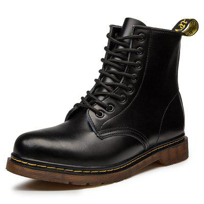 SENBAO Men's Lace-up Genuine Leather High-top Thick Bottom Martin Boots