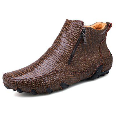 AILADUN Men's Large Size High Top Casual Crocodile Pattern Shoes