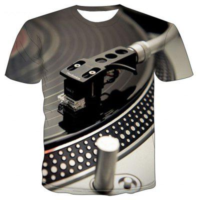 Male Sound Instrument Turntable Printed 3D Short Sleeve T-shirt
