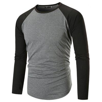 Men's Fashion Trend Round Collar Contrast Color Long Sleeve T-shirt