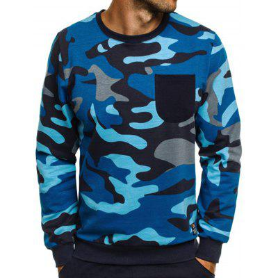 Men Casual Camouflage Pullover Sweater Long Sleeve Tee