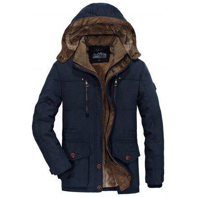 Men Large Size Warm Cotton Coat Parka Jacket with Cap