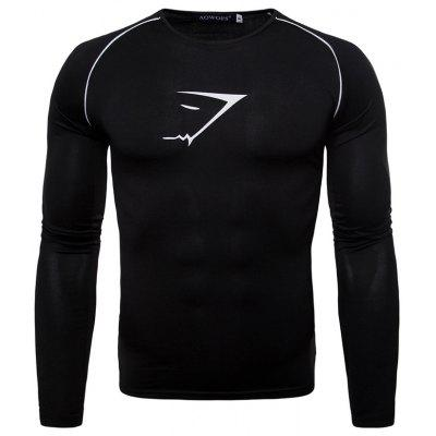 Men Trend Sports Print Round Neck Quick-drying Long-sleeved T-shirt
