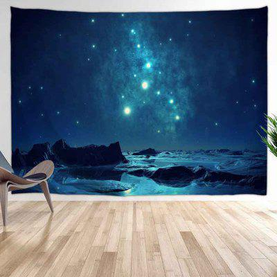 Mountains Beautiful Starry At Night Digital Print Tapestry