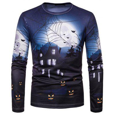 Men Tee Digital Print Halloween Long Sleeve T-Shirt