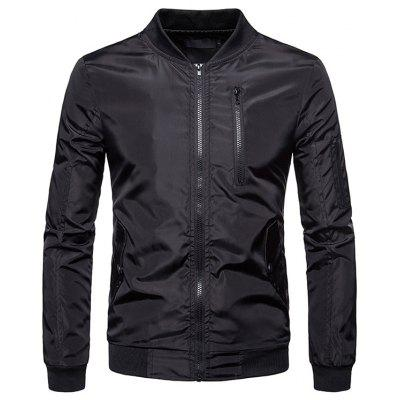 Men Coat Large Size Casual Solid Color Collar Jacket