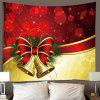 Christmas Series Bowknot Pattern Print Tapestry - LAVA RED