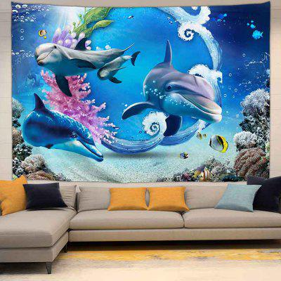 Dolphins in Watercolour Digital Print Background Tapestry