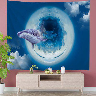 Creative Airborne Waves Whale Digital Print Tapestry